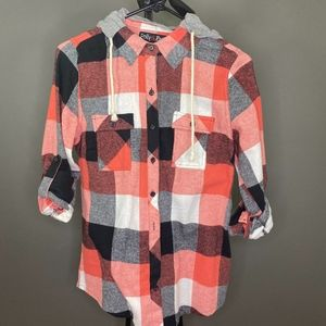 Polly&Esther Soft Plaid Hoodie M